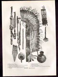 Tail Iron Wing Chiefs Indian Peace Pipe War Bonnet 1906 Print