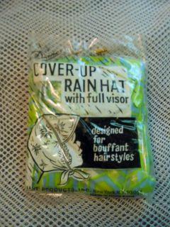 vintage DIANES Cover Up RAIN HAT BONNET w/full visor green/blue