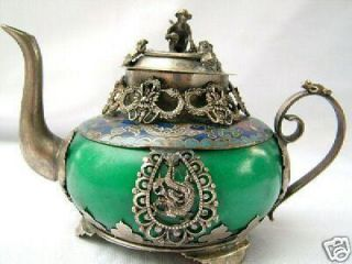 china tibet silver green jade carve dragon monkey teapot