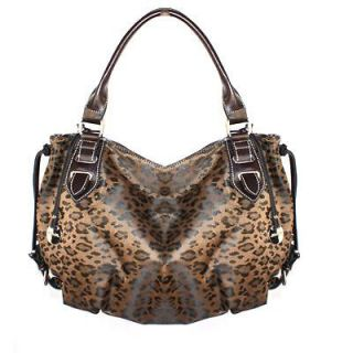 Leopard Animal Print Dark Brown Round Hobo Shoulder Bag Double Rolled