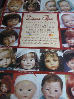 1998 Dianna Effner Doll Ad / Aaron/Emily/chelsea/Tiny/Lovely/Molly