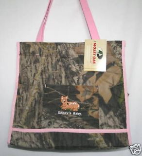 MOSSY OAK CAMO CAMOUFLAGE DIAPER BAG, or TOTE w/ PINK