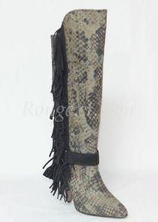 SALE ISABEL MARANT python print fringe SAILOR boots 36 KHAKI