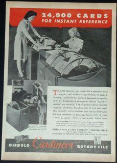 1943 WW II DIEBOLD SAFE & LOCK CARDINEER FILE PRINT AD