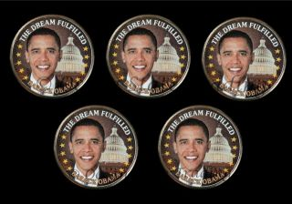 Five   Colorized President Obama Hawaii Quarters (5 Coins)