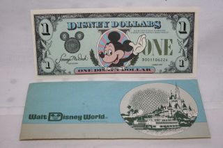 One) Disney Dollar Mickey Mouse & Castle Series 1987 Crisp