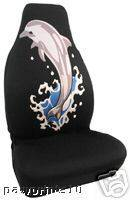 DOLPHIN DOLPHINS BUCKET SEAT COVER BLACK COLOR WITH DOLPHINS (1) SEAT