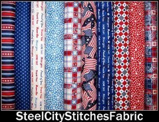 Let Freedom Ring Patriotic Quilts Of Valor Red Blue Cotton Fabric Set