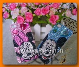 2pcs Diamond Mickey Minnie mouse Bling Crystal Case Cover For iPhone 4
