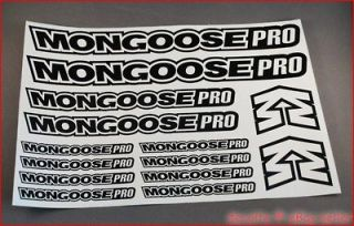 BMX Bike Frame Fork Cycle Decals Mongoose Pro Style Kit Stickers Logo
