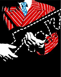 1993 Man holding a shotgun wears suit w/ American flag colors POSTER