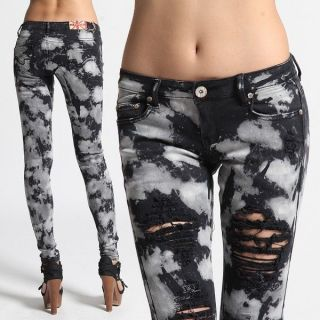 MOGAN Tie Dye Washed DISTRESSED SKINNY JEANS Printed Destroyed Ripped