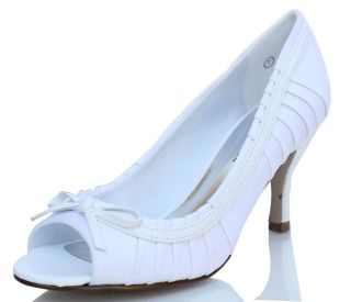 White Satin Peep Toe High Heel Low Heels 3  React