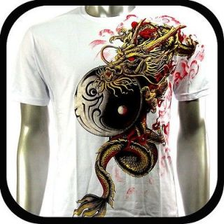 Artful Couture T Shirt Tattoo Rock Punk AW55 Sz L Art Graffiti Dragon