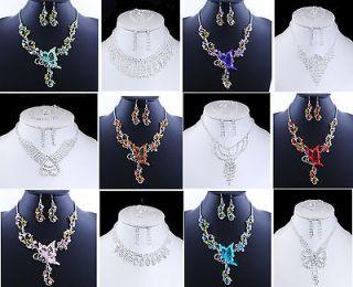 Fashion Acrylic Rhinestone Necklace Earring Set Wedding Party Brand