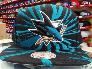 AUTHENTIC NHL MITCHELL & NESS SAN JOSE SHARKS XL BIG LOGO SNAPBACK CAP