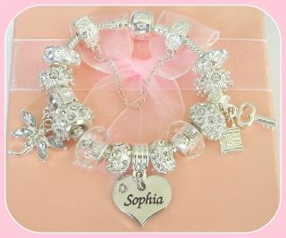 GIRLS LUXURY SPARKLING SILVER NAME CHARM BRACELET GIFT BOXED NAMES A E