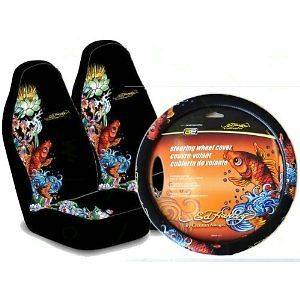 ED HARDY KOI SEAT COVERS (PAIR) & STEERING WHEEL COVER