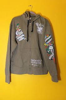 New Ed Hardy by Christian Audigier Death Before Dishonor Hoodie mens
