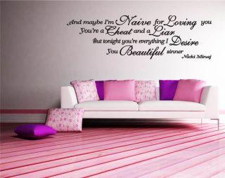 Nicki Minaj Beautiful Sinner Song Lyrics Wall Art Decal Sticker WA0242