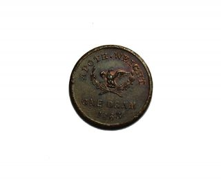 1863 John P Gruber One Dram Civil War Store Card Token NY AU UNC det.