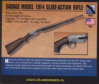 SAVAGE MODEL 1914 SLIDE ACTION RIFLE Gun Firearms CARD