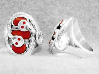 Mens Coral Ring Size 11 Effie C Calavaza Zuni Sterling Silver Large