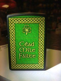 Cead Mile Failte ZIPPO LIGHTER Irish Souvenir Matte Black FREE
