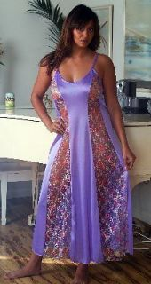 CUTE PURPLE Sexy Long NIGHT GOWN Colorful FLORAL LACE Medium M