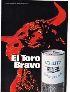 Original Print Ad 1970 SCHLITZ EL TORO BRAVO MALT LIQUOR Red Bull