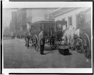 Horse drawn hearses,front of funeral parlor,New York City?,NYC?,1908