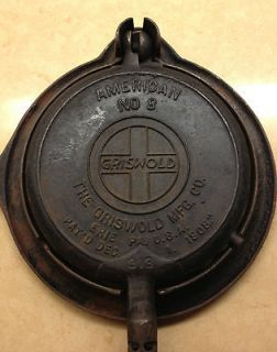 Antique Griswold American No. 8 Cast Iron Waffle Maker