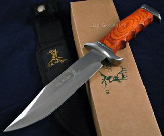 Elk Ridge Full Tang Laminated Wood Handle Fixed Blade Hunting Bowie