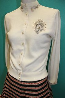FANTASTIC Vtg 50s Ivory BEADED Embellished Pin Up CARDIGAN SWEATER s