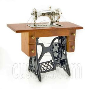 Antique Silver Sewing Machine Table Dollhouse Miniature