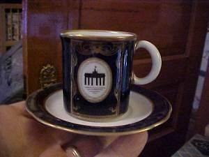 WEIMAR Porcelain Echt Kobalt Cobalt & Gold DEMITASSE CUP & SAUCER