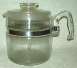 Vintage Pyrex Flameware 6 Cup Coffee Pot Percolator 7756 B Stove Top