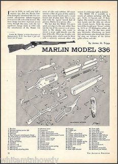 MARLIN Model 336 RIFLE 2 pg Parts List~Assembly Article w/Exploded