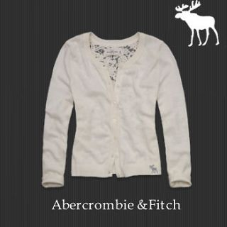 NWT Abercrombie & Fitch Women Cardigan Lace Back Sweater Cream Size XS