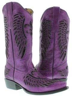 Womens ladies purple leather sequins cowboy boots western riding