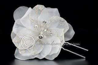 Wedding Bridal Hair Flower Pin Ivory Silver Emboidered with Rhinestone
