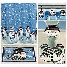 Bathroom Collection Shower Curtain Bath Mat Toilet Cover Rug Hooks
