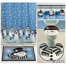 Bathroom Collection Shower Curtain Bath Mat Toilet Cover Rug Hooks