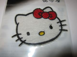 HELLO KITTY Embroidered Fabric Iron On Transfer Applique Patch RED BOW