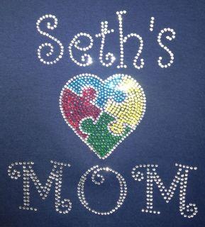 Autism Mom Puzzle Heart Rhinestone Bling Shirt~~