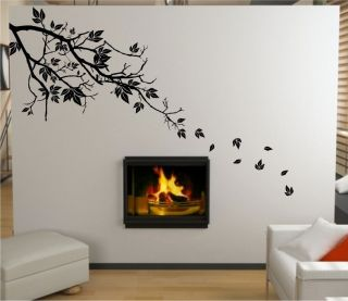 TREE FALLING LEAVES WALL STICKER   VINYL DECAL   2 SIZES   17 COLOURS