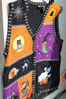 NEW Halloween Embroidered Womens Sweater Vest BEAUTIFUL S/M/L/XL