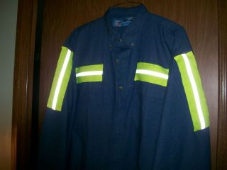 COAL MINERS YELLOW STRIPE REFLECTIVE DENIEM SHIRT  XLto3X