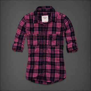 MSRP~$78 NWT NEW ABERCROMBIE & FITCH * HAILEY * PINK PLAID SHIRT