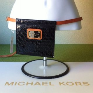 Michael Kors Fanny Pack with Leather Belt MK Monogram Black w/Camel